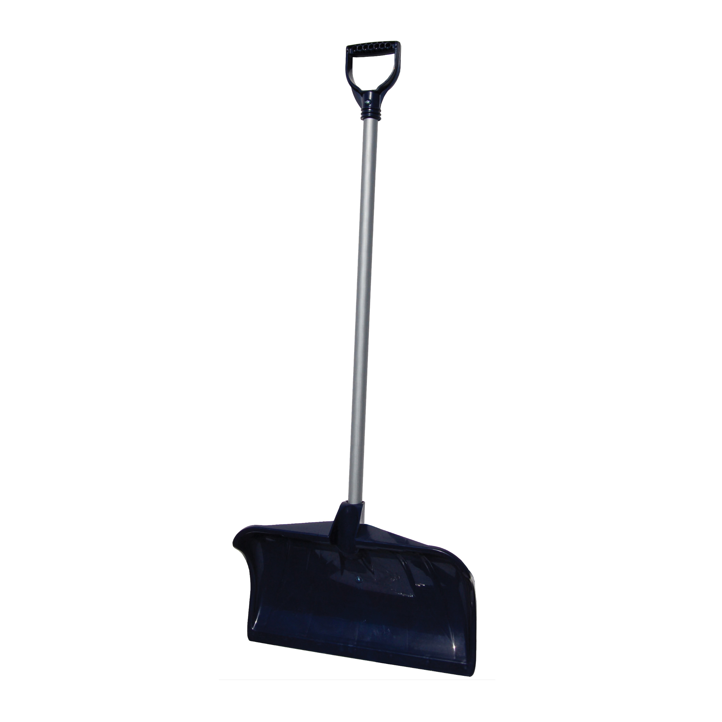 Picture of RUGG 34PD-S Snow Pusher, 20 in W Blade, Polyethylene Blade, Steel Handle, D-Shaped Handle, Navy