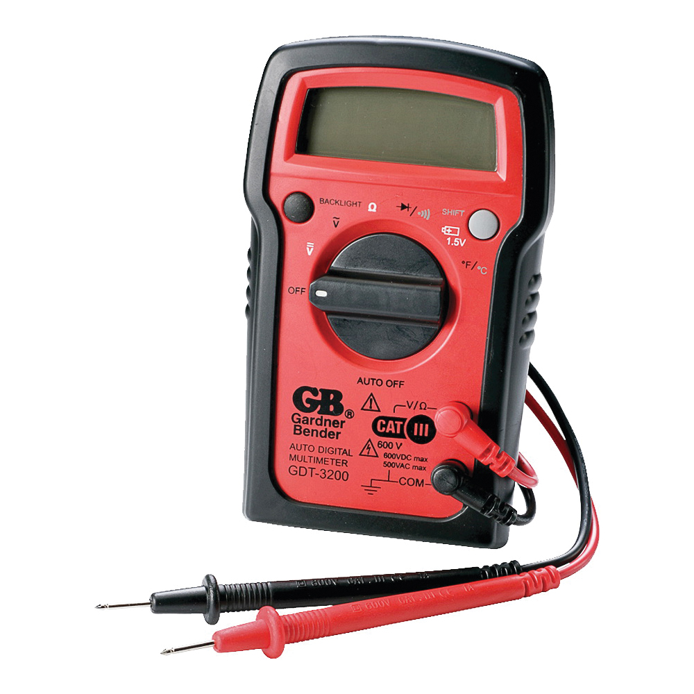 Picture of GB GDT-3200 Digital Multimeter, 500 VAC, 600 VDC, 20 MOhm, LCD Display, Red