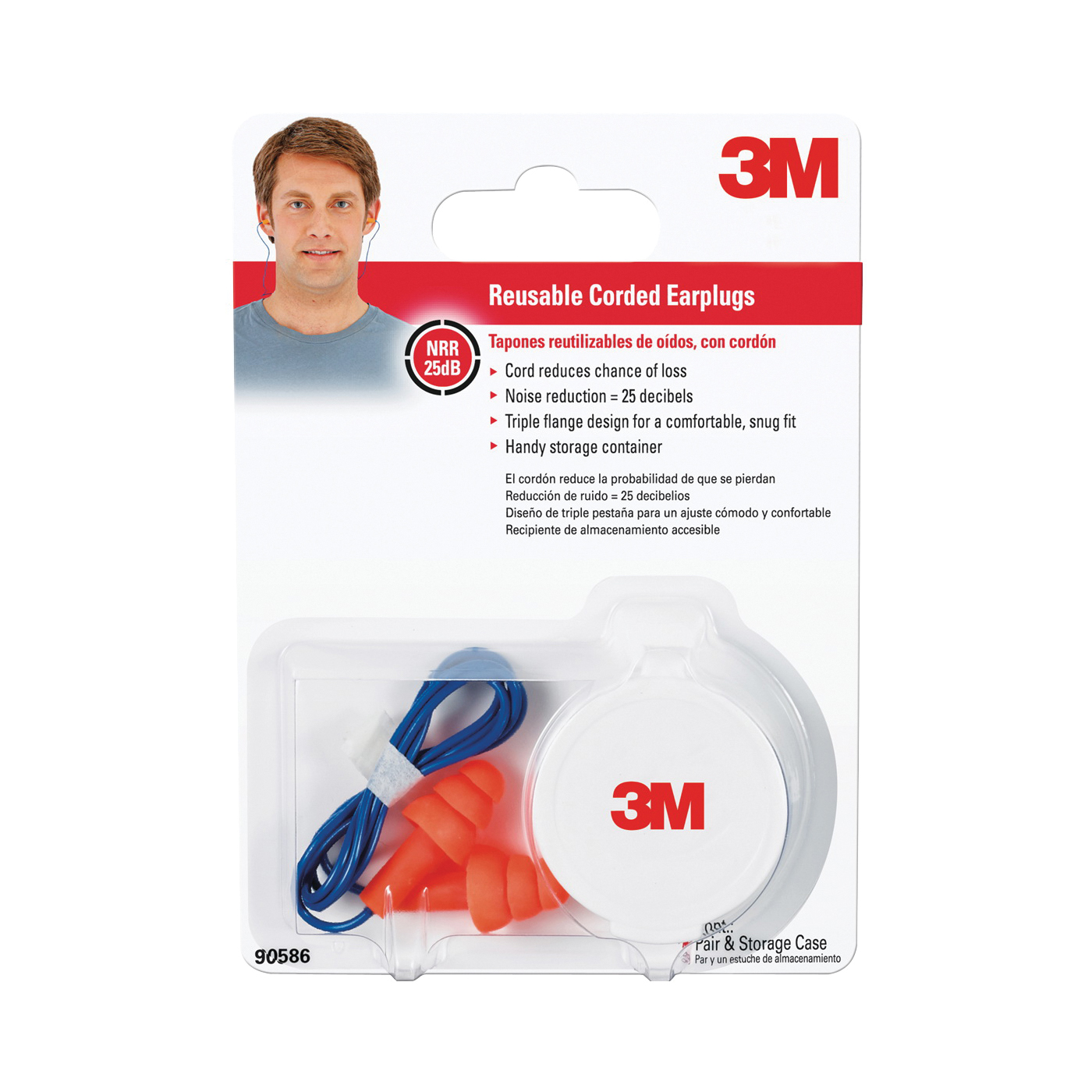 Picture of 3M Tri-Flange 90586-00000 Ear Plugs, 26 dB NRR, Multi-Flange