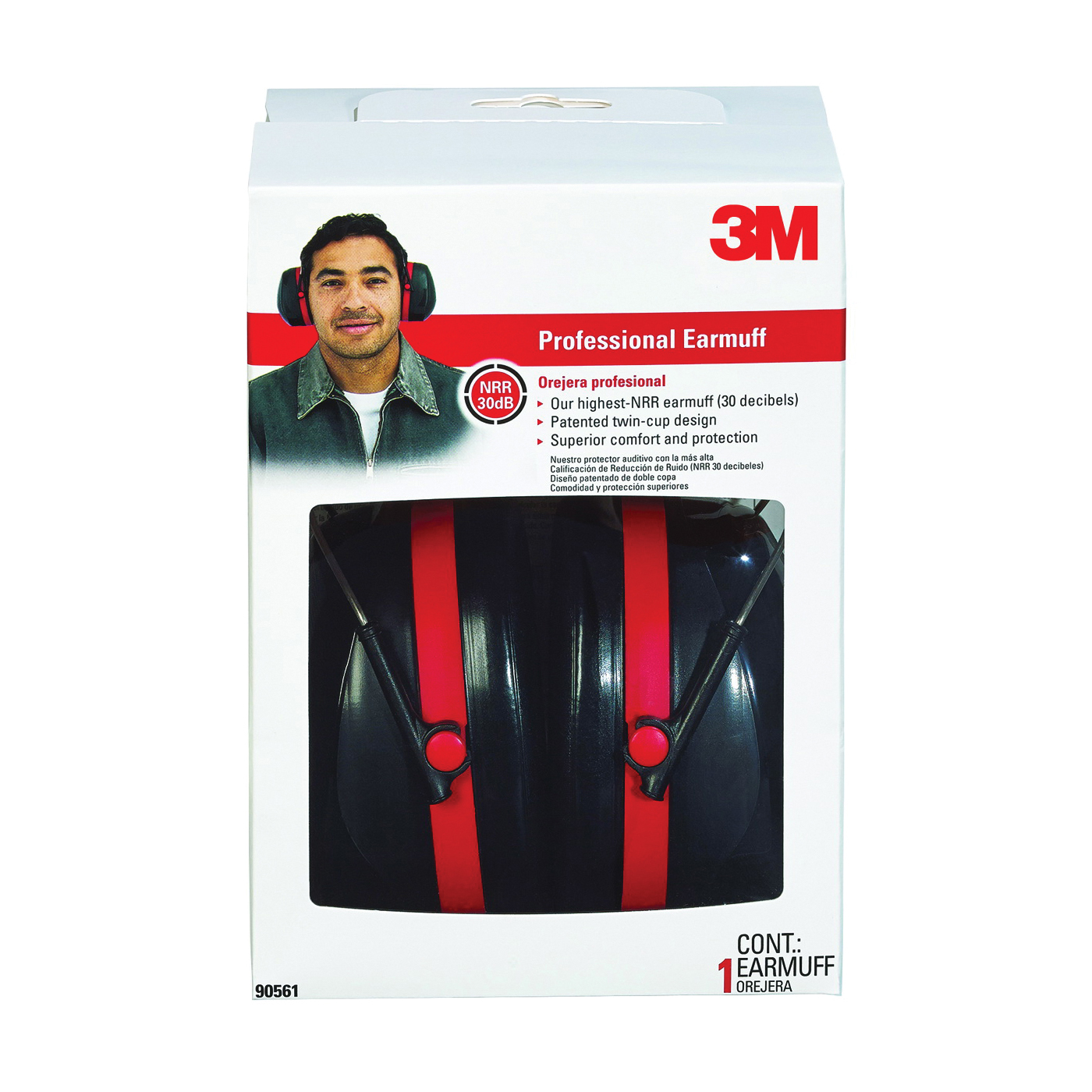 Picture of 3M Pro Series 90565-4DC-PS Earmuff, 3.9 in L x 5.4 in W x 7 in H, Vented Headband, Rubber/Steel, Red