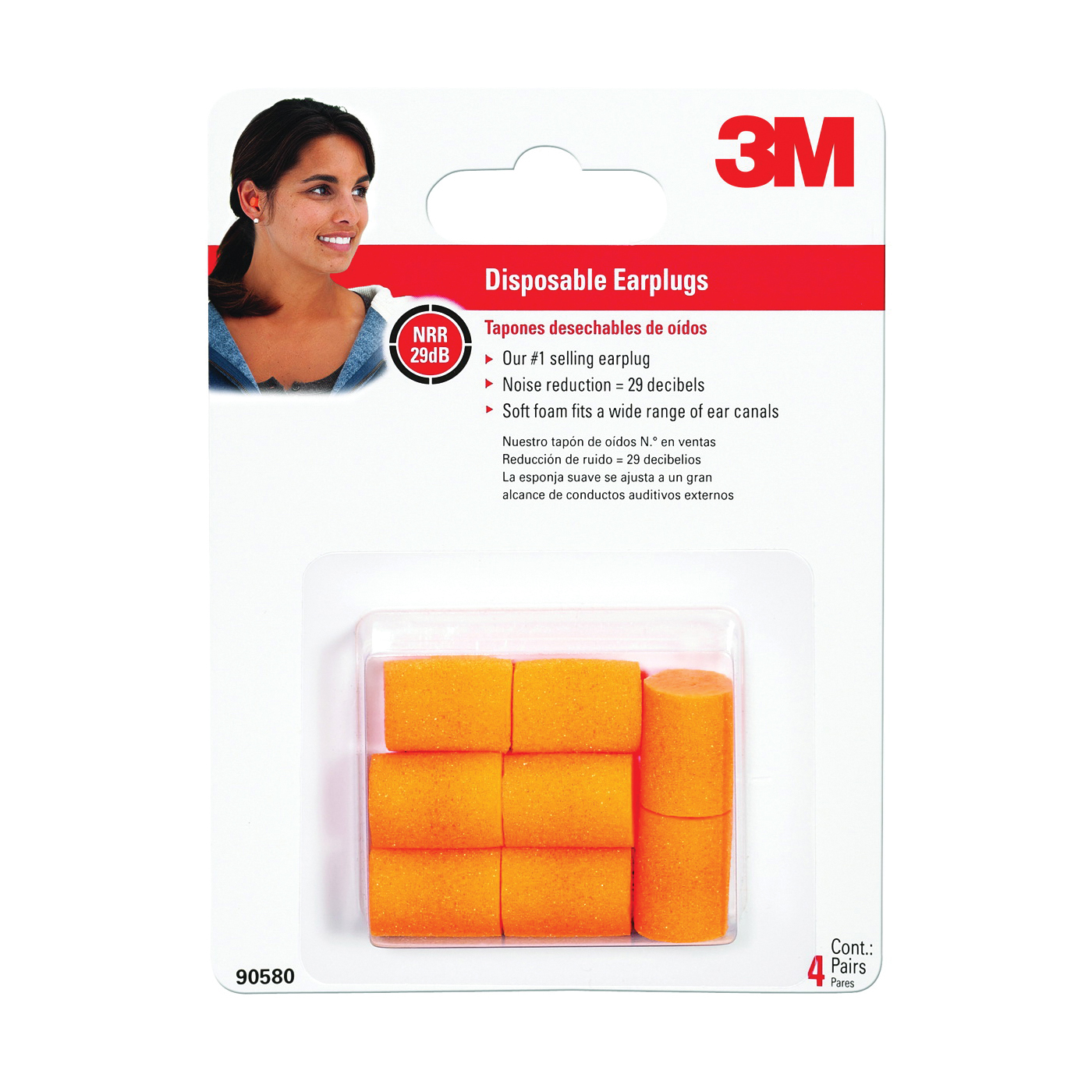 Picture of 3M TEKK Protection 90580-00000T Ear Plugs, 29 dB NRR, Foam Ear Plug, Orange Ear Plug