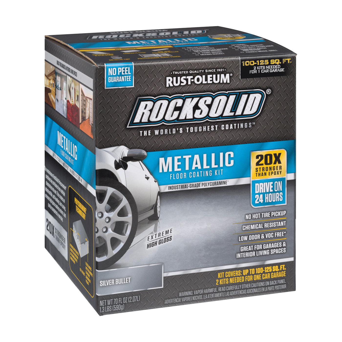 Picture of RUST-OLEUM ROCKSOLID 286893 Floor Coating Kit, High-Gloss, Silver, Particulate Solid, 70 oz