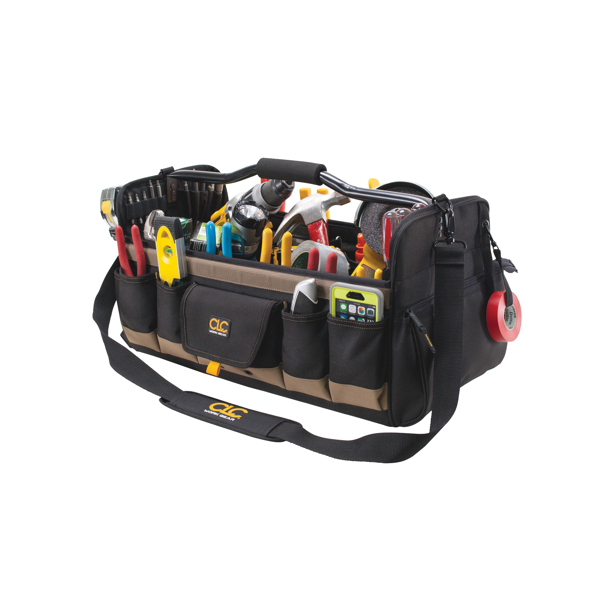 Picture of CLC Tool Works 1579 Open Top Tool Bag, 11 in W, 11 in D, 20 in H, 27 -Pocket, Polyester, Black