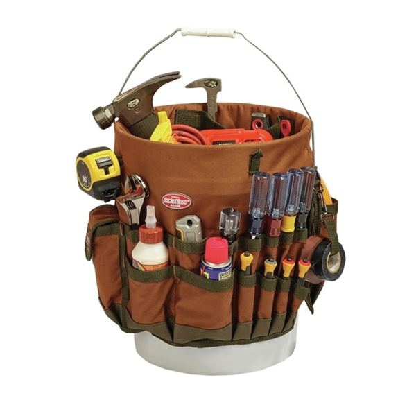 Picture of Bucket Boss 10030 Bucketeer, 11 in W, 11 in D, 11 in H, 30 -Pocket, Polyester, Brown