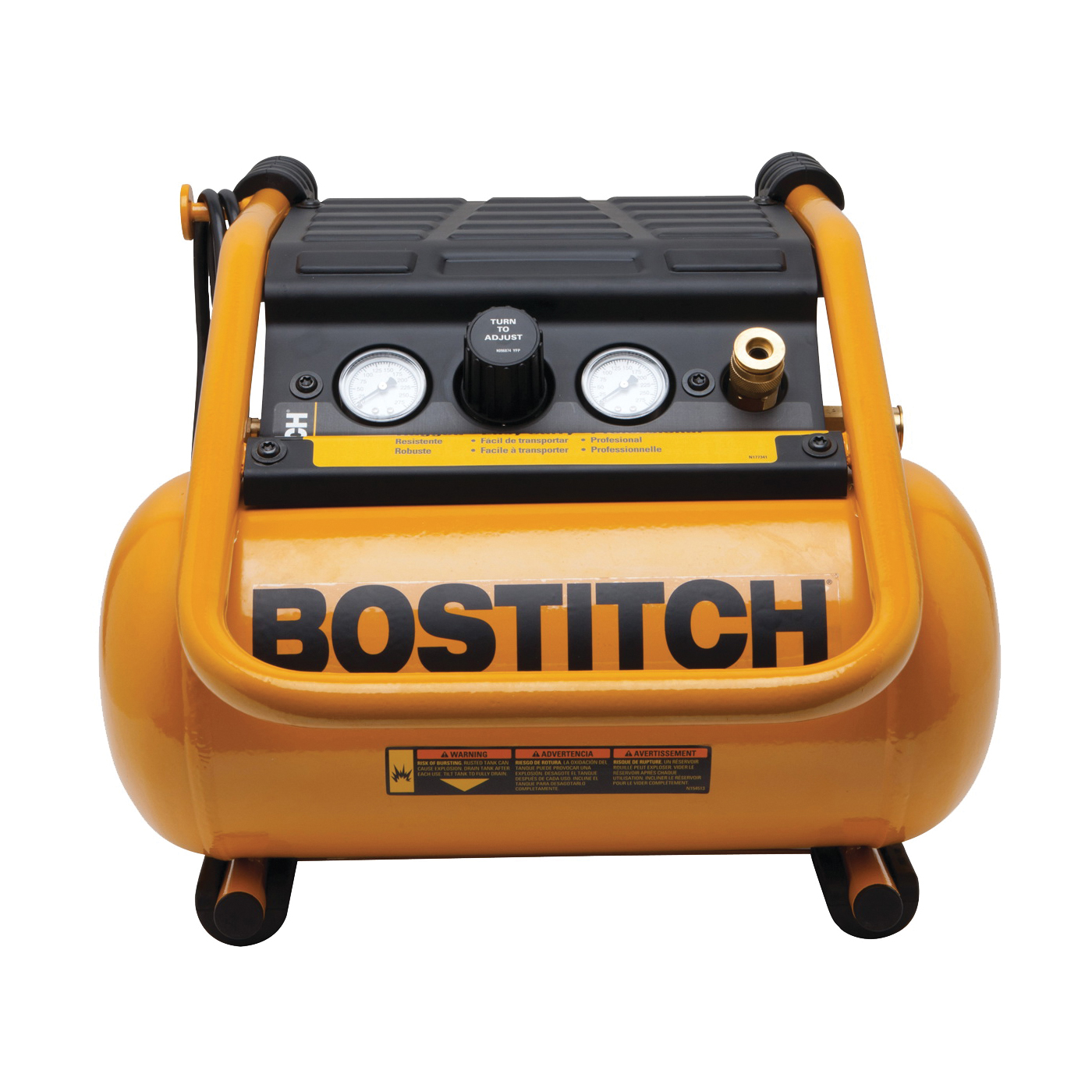 Picture of Bostitch BTFP01012 Trim Compressor, 2.5 gal Tank, 0.8 hp, 120 V, 90 psi Pressure, 2 scfm Air