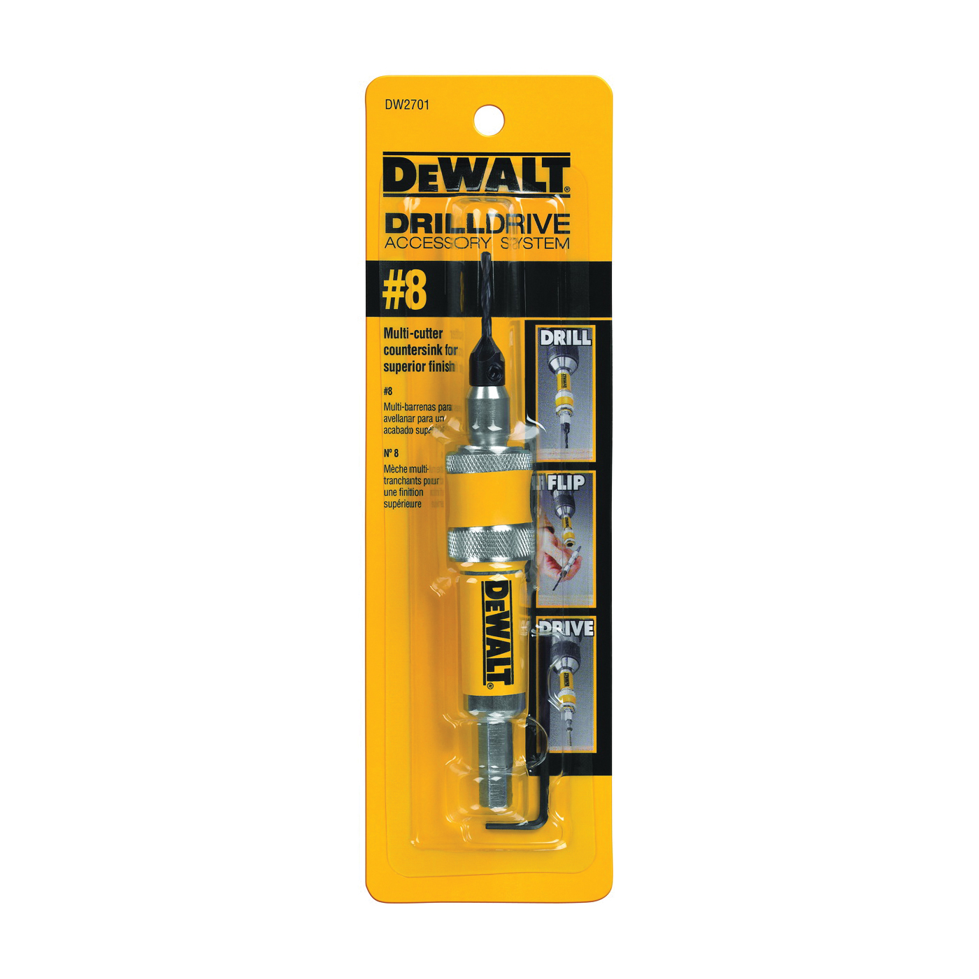 Picture of DeWALT DW2701 Drill/Drive Set, Steel, Yellow, Black Oxide