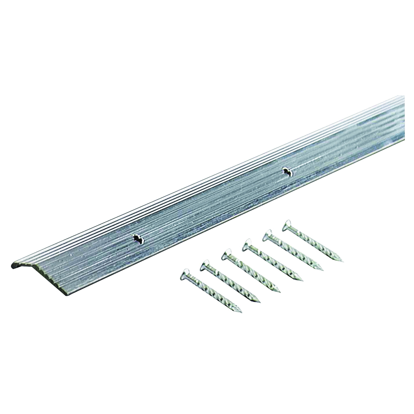 Picture of M-D 78006 Carpet Trim, 36 in L, 7/8 in W, Fluted Surface, Aluminum, Silver