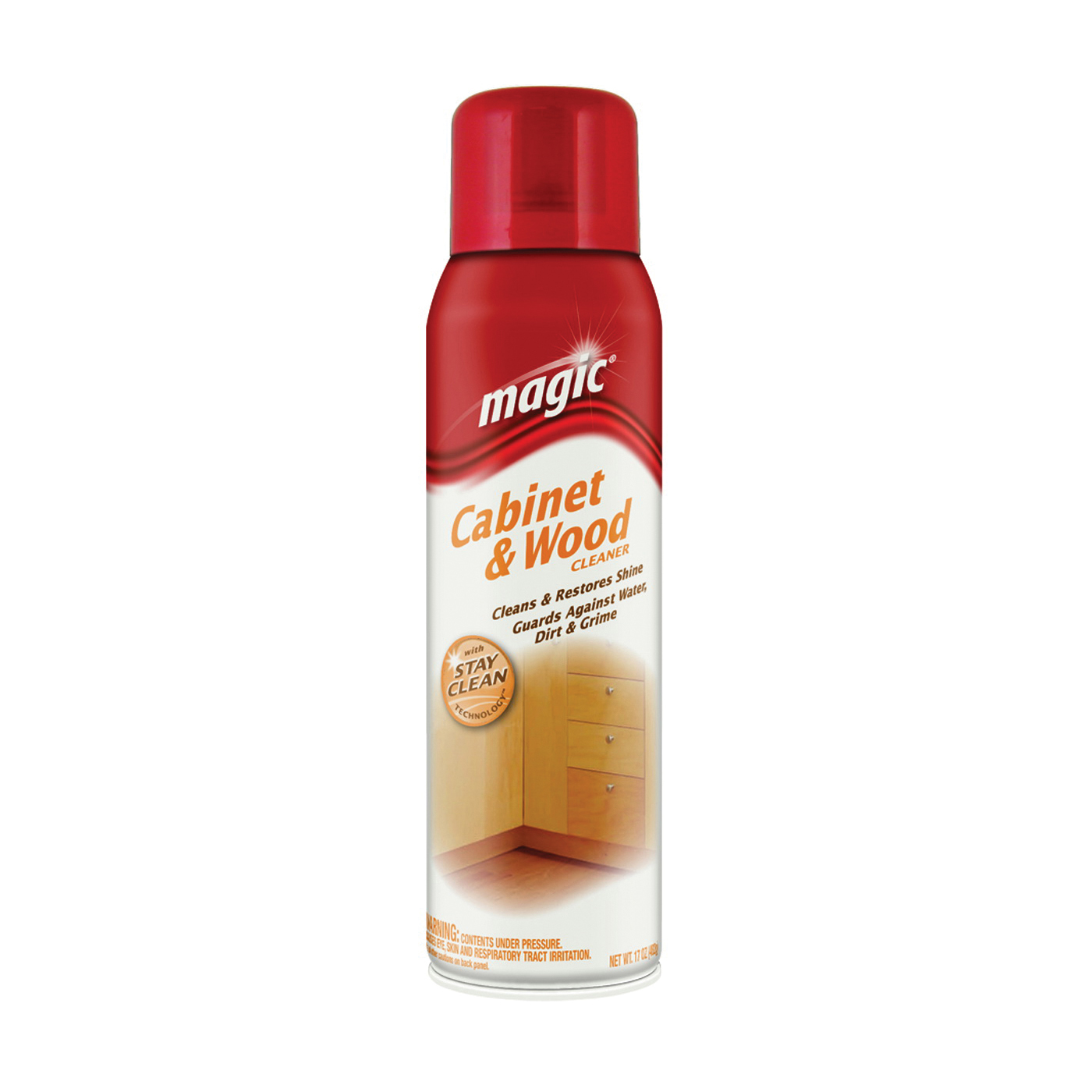Picture of Magic 3063 Cabinet Wood Cleaner and Polish, 17 oz Package, Aerosol Can, Liquid, Cherry, White