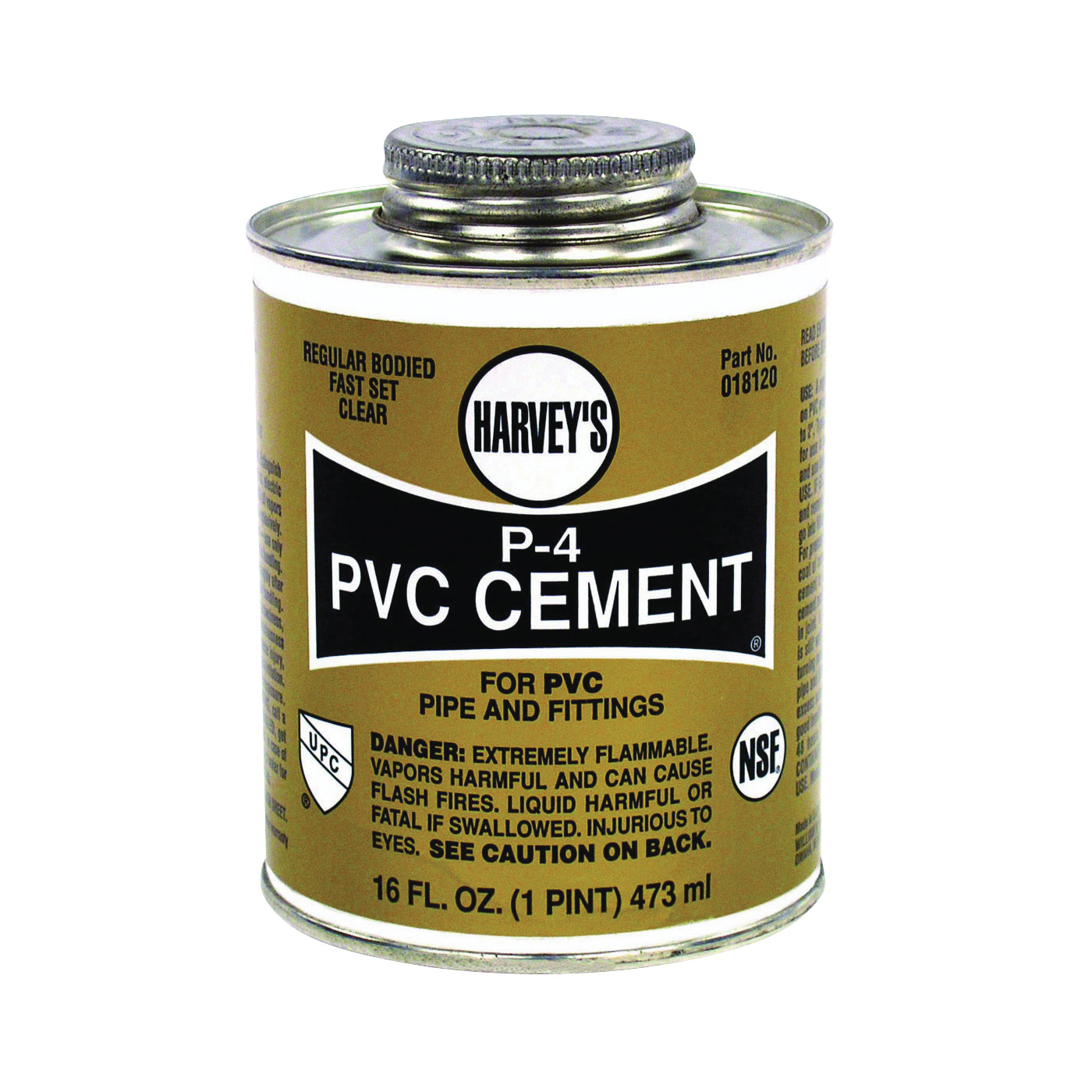 Picture of HARVEY 018120-12 Solvent Cement, 16 oz, Can, Liquid, Clear