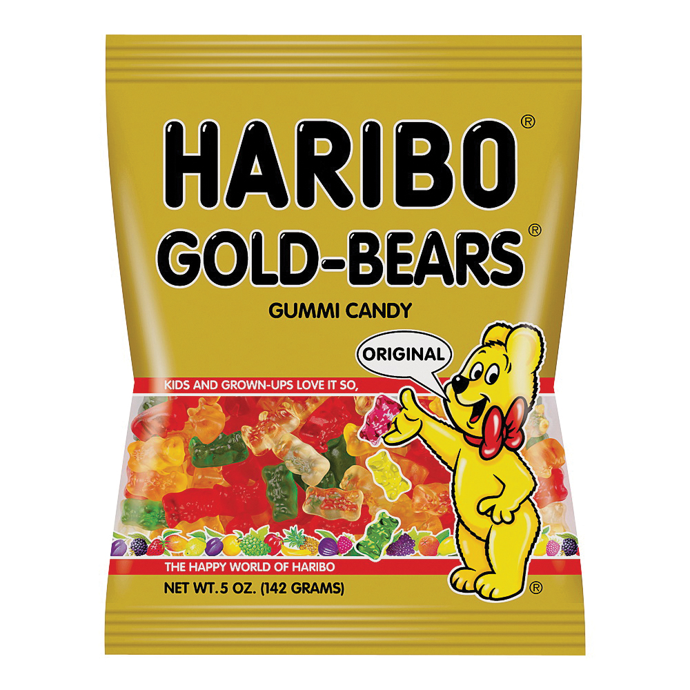 Picture of Haribo HGB12 Jelly Candy, Assorted Fruits Flavor, 5 oz Package, Bag
