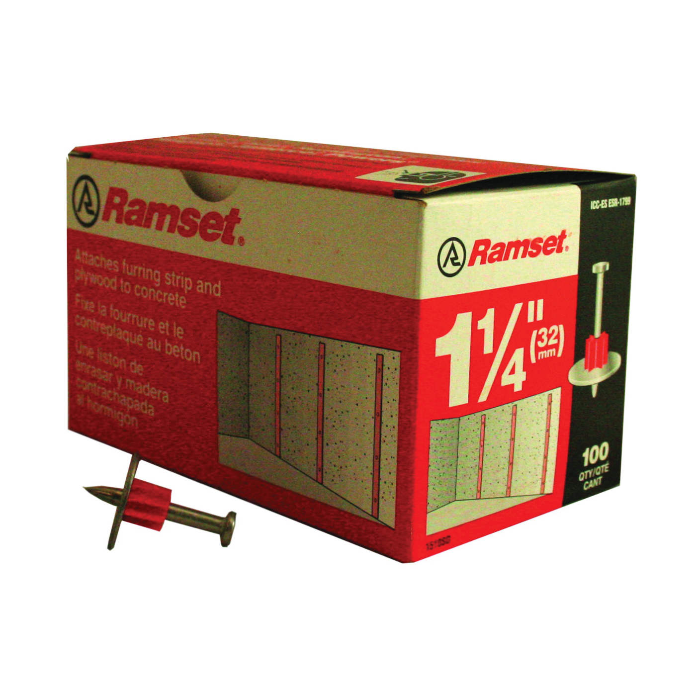 Picture of Ramset 1510SD Washered Pin, 0.145 in Dia Shank, Steel, Zinc