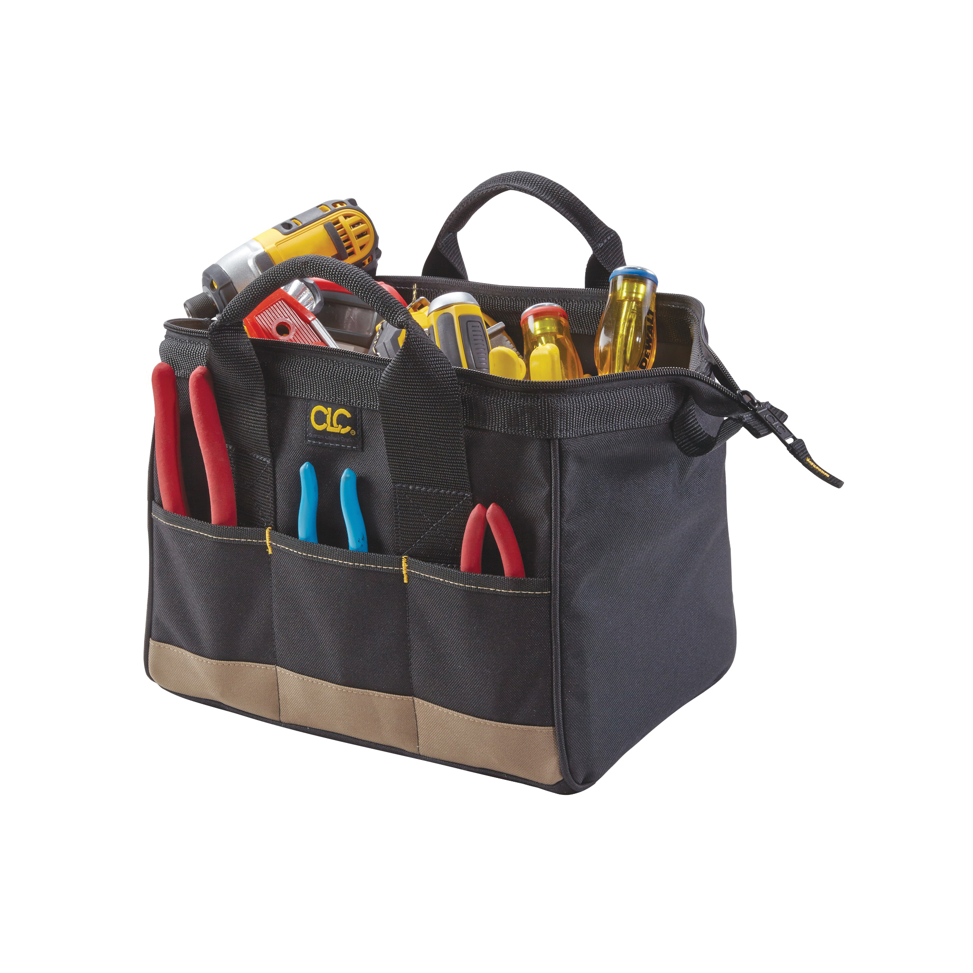 Picture of CLC Tool Works BIGMOUTH 1161 Tote Bag, 8-1/2 in W, 12 in D, 8 in H, 14 -Pocket, Polyester, Black/Blue