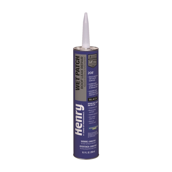Picture of Henry Wet Patch 208 Series HE208004 Roof Cement, Liquid, Solvent, Black, 11 fl-oz Package, Cartridge