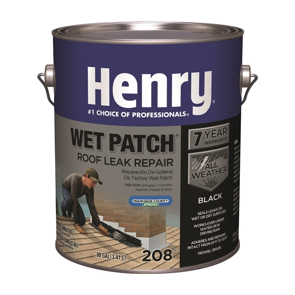 Picture of Henry Wet Patch 208R Series HE208042 Roof Cement, Liquid, Solvent, Black, 1 gal Package, Can