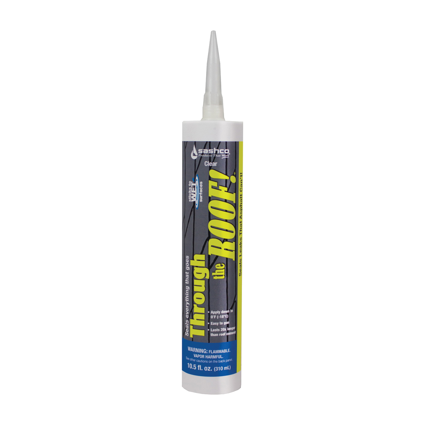 Picture of Through The Roof! 14010 Cement and Patching Sealant, Clear, Liquid, 10.5 oz Package, Cartridge