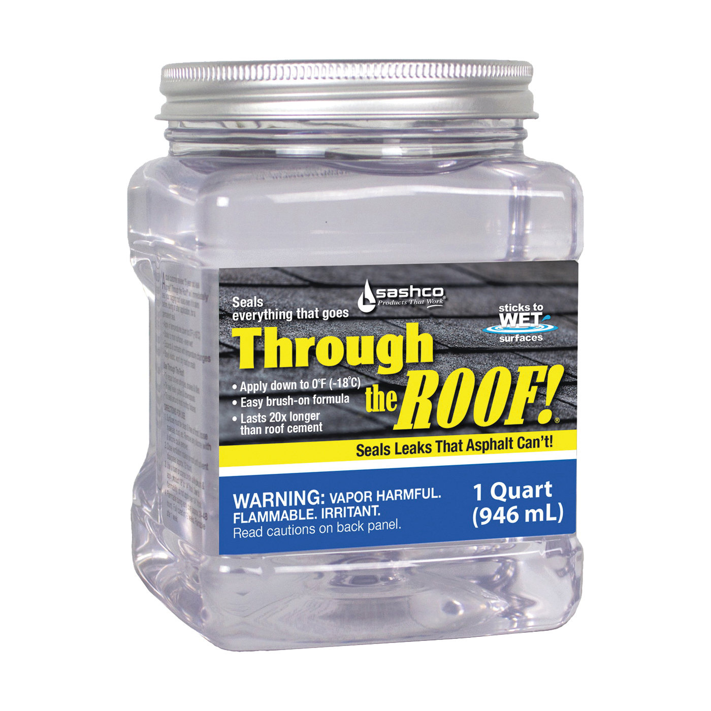 Picture of Through The Roof! 14003 Cement and Patching Sealant, Clear, Liquid, 1 qt Package, Container
