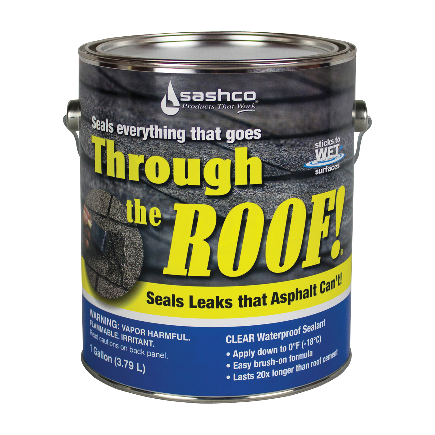 Picture of Through The Roof! 14004 Cement and Patching Sealant, Clear, Liquid, 1 gal Package, Container