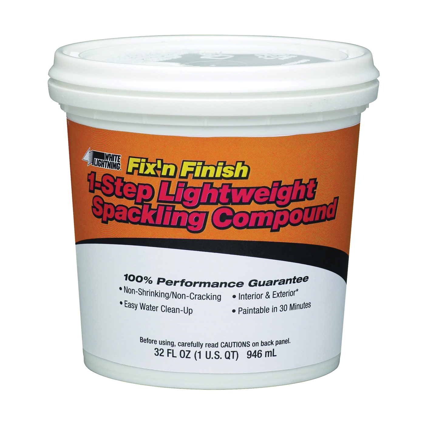 Picture of WHITE LIGHTNING WL60520 Spackling Paste White, White, 1 qt, Can