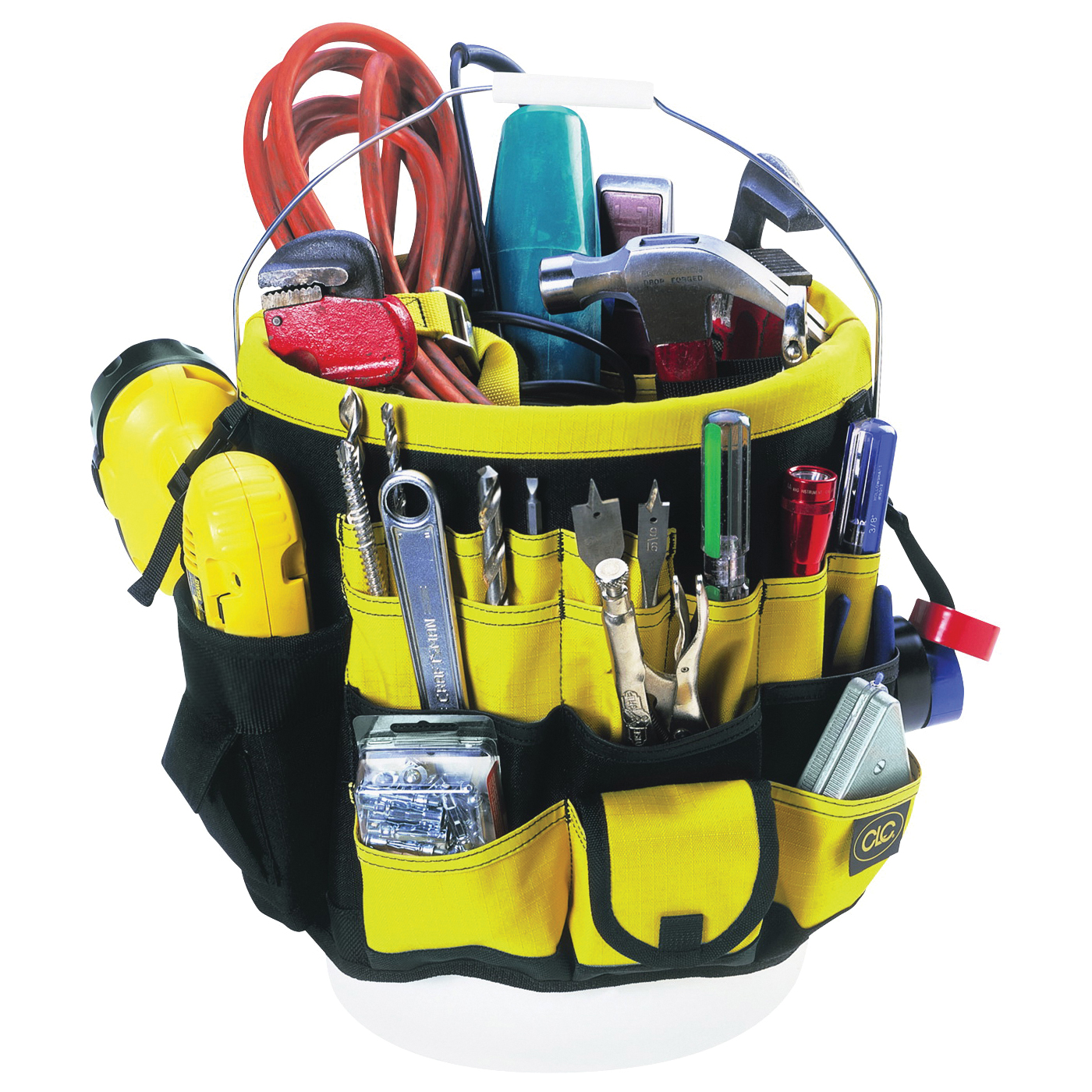 Picture of CLC Tool Works 4122 Bucket Tool Organizer, 61 -Compartment, Rip-Stop Fabric, Black/Yellow