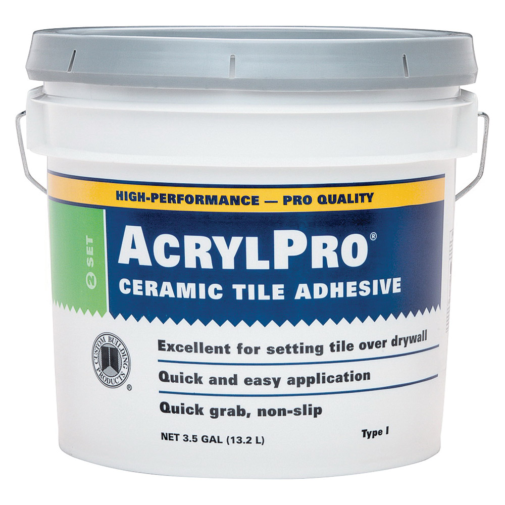 Picture of CUSTOM ARL40003 Ceramic Tile Adhesive, White, 3.5 gal Package, Pail