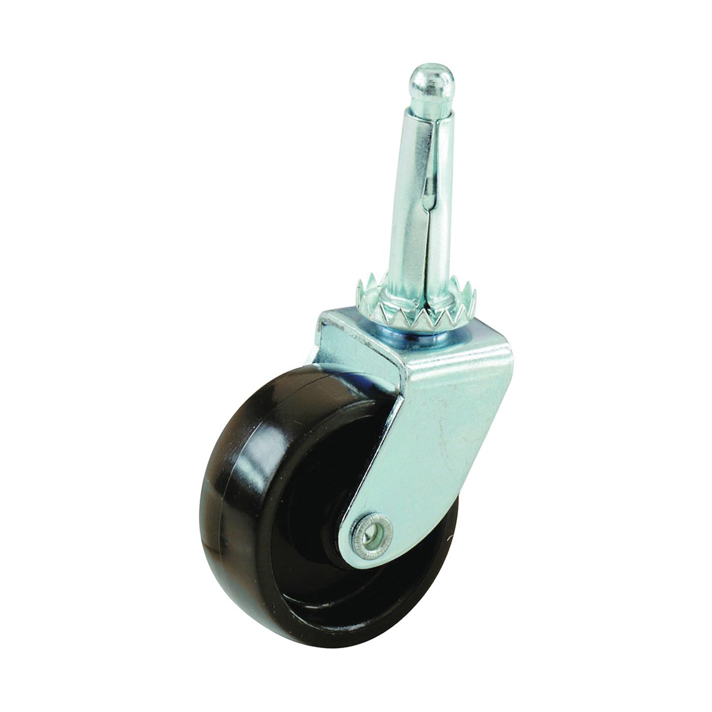 Picture of Shepherd Hardware 9559 Swivel Caster, 1-5/8 in Dia Wheel, Plastic Wheel, Black, 50 lb