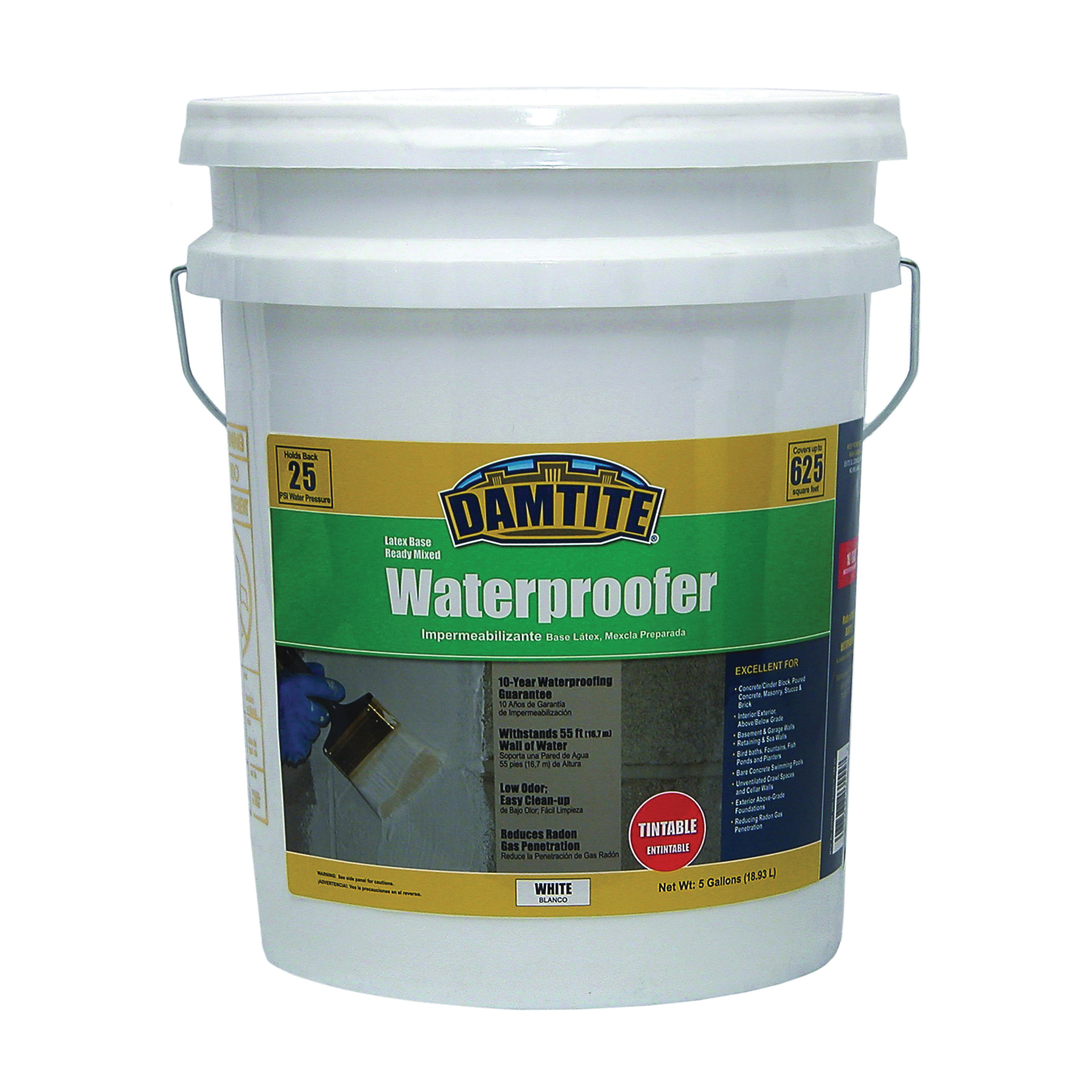 Picture of DAMTITE 03555 Latex Waterproofer, White, Liquid, 5 gal Package, Pail