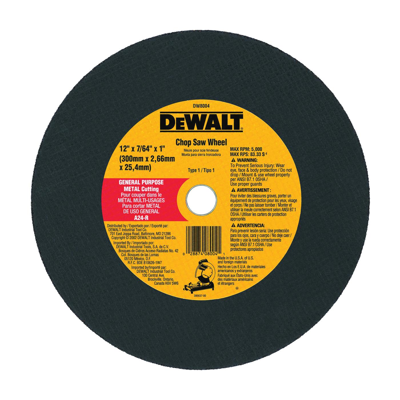 Picture of DeWALT DW8004 Cutting Wheel, 12 in Dia, 7/64 in Thick, 1 in Arbor, Coarse, Aluminum Oxide Abrasive