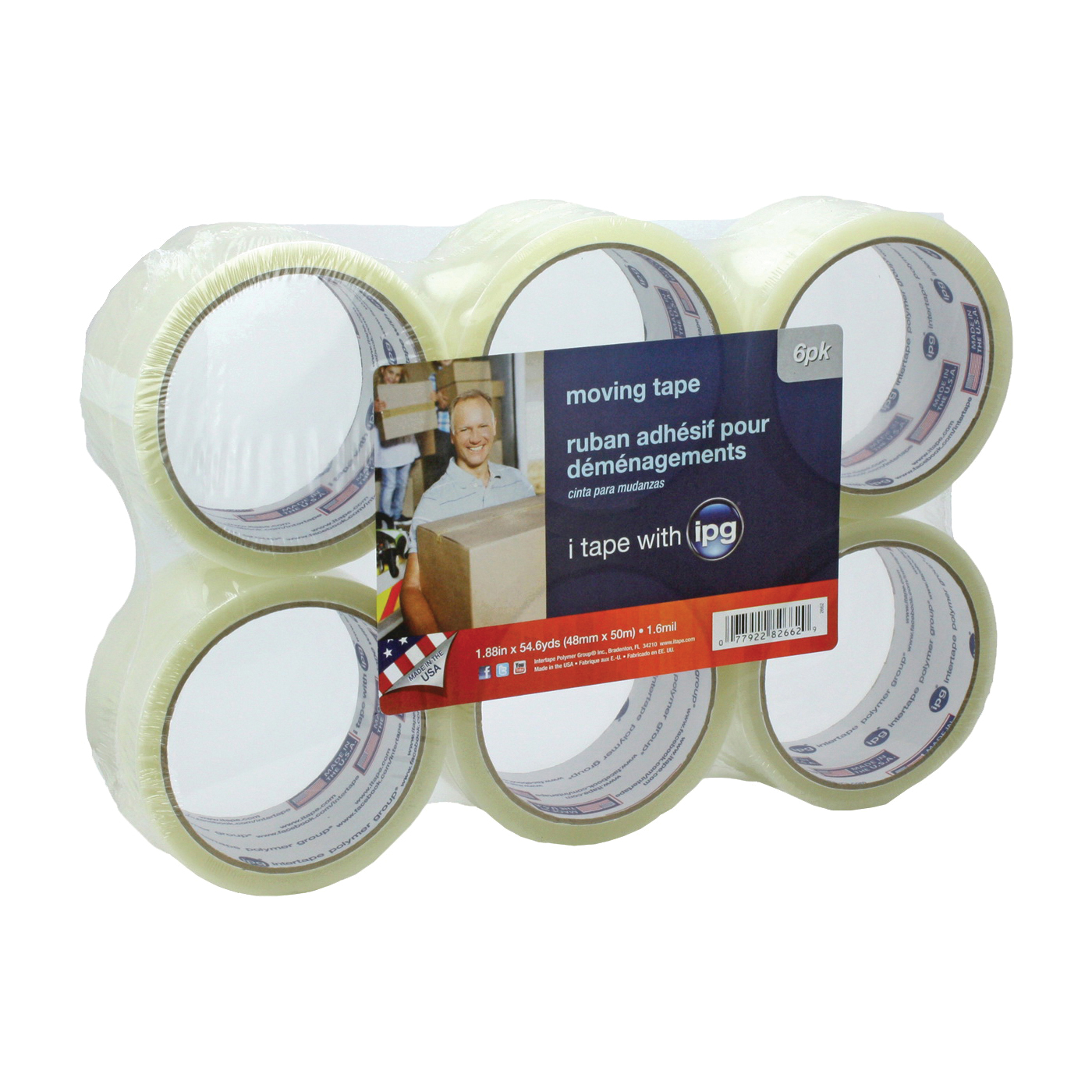 Picture of IPG 2662 Sealing Tape, 54.6 yd L, 1.88 in W, Polypropylene Backing, Clear