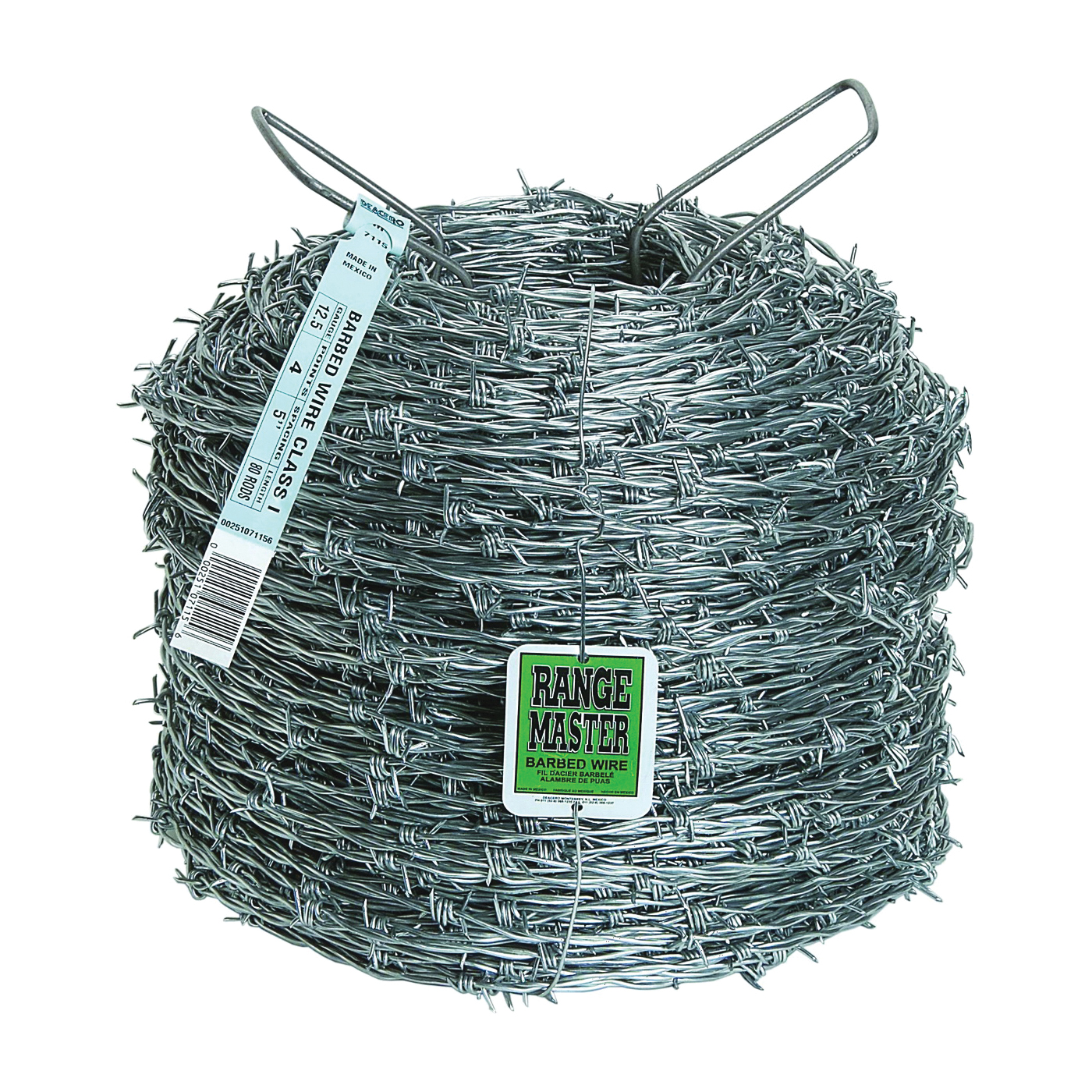 Picture of Rangemaster Class 1 Series 7115 Barbed Wire, 1320 ft L, 12-1/2 Gauge, 5 in Points Spacing, Zinc