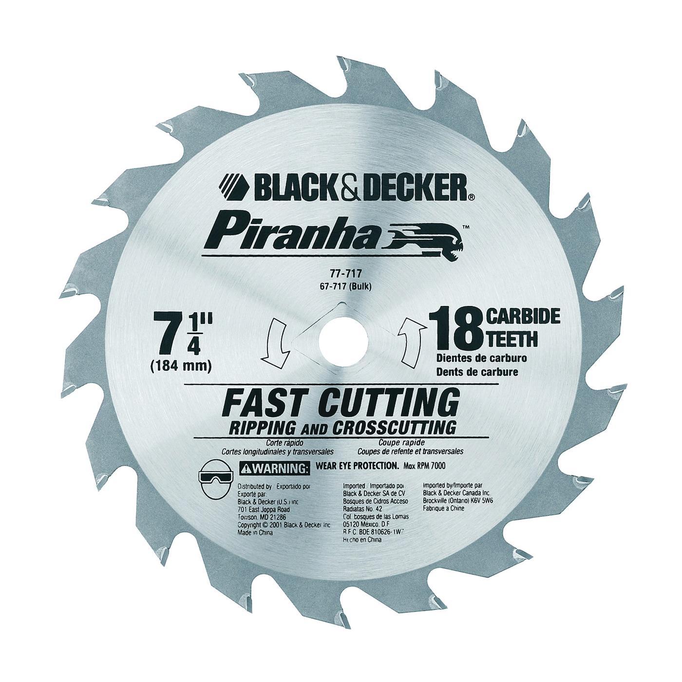 Picture of Black+Decker 67-717 Circular Saw Blade, 7-1/4 in Dia, 5/8 in Arbor, 18 -Teeth, Carbide Cutting Edge