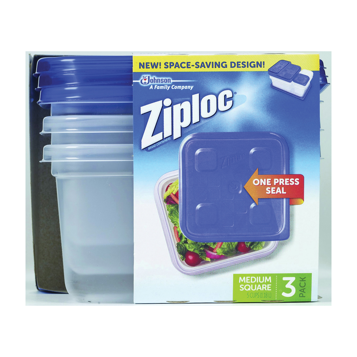 Picture of Ziploc 70937 Food Storage Container, 32 oz Capacity, Plastic, Clear, 6-1/8 in L, 6-1/8 in W, 3-3/8 in H