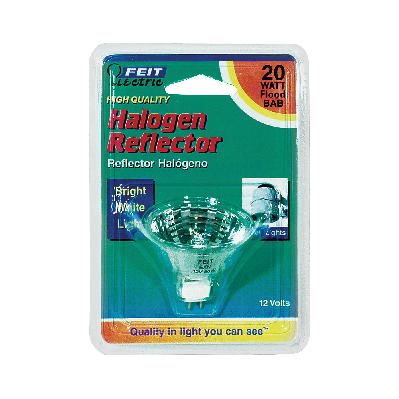 Picture of Feit Electric BPBAB Halogen Lamp, 20 W, GU5.3 Lamp Base, MR16 Lamp, 3000 K Color Temp, 3000 hr Average Life