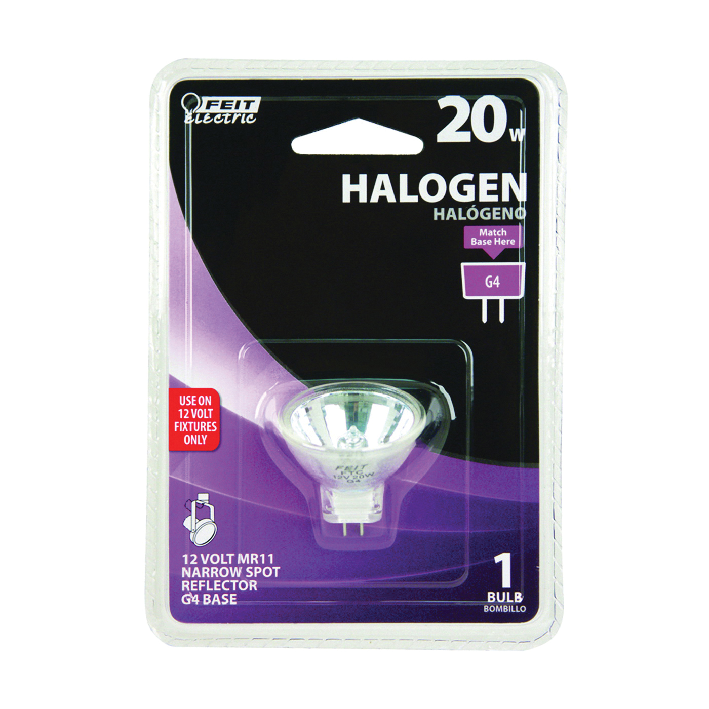 Picture of Feit Electric BPFTC Halogen Lamp, 20 W, G4 Lamp Base, MR11 Lamp, 3000 K Color Temp, 3000 hr Average Life