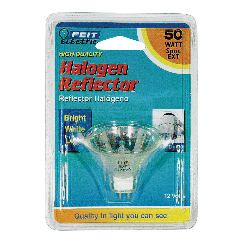 Picture of Feit Electric BPEXT Halogen Lamp, 50 W, GU5.3 Lamp Base, MR16 Lamp, 3000 K Color Temp, 3000 hr Average Life
