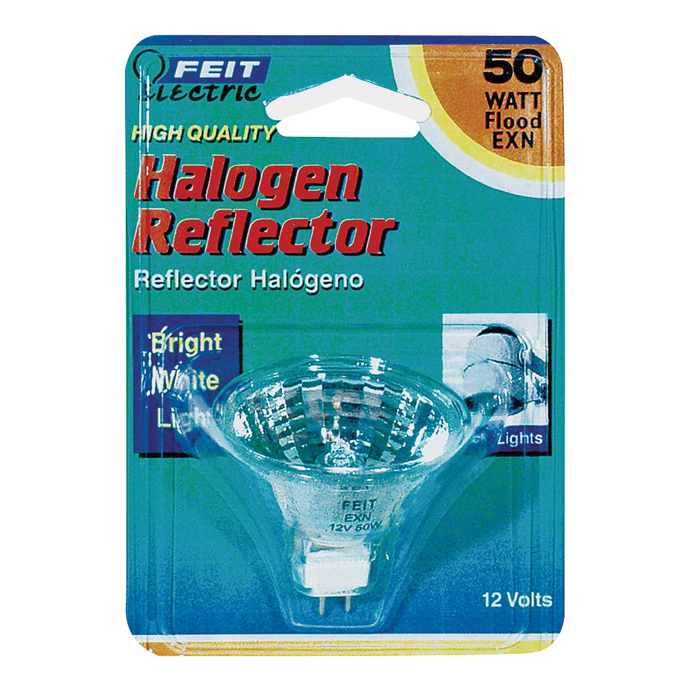 Picture of Feit Electric BPEXN Halogen Lamp, 50 W, GU5.3 Lamp Base, MR16 Lamp, 3000 K Color Temp, 3000 hr Average Life