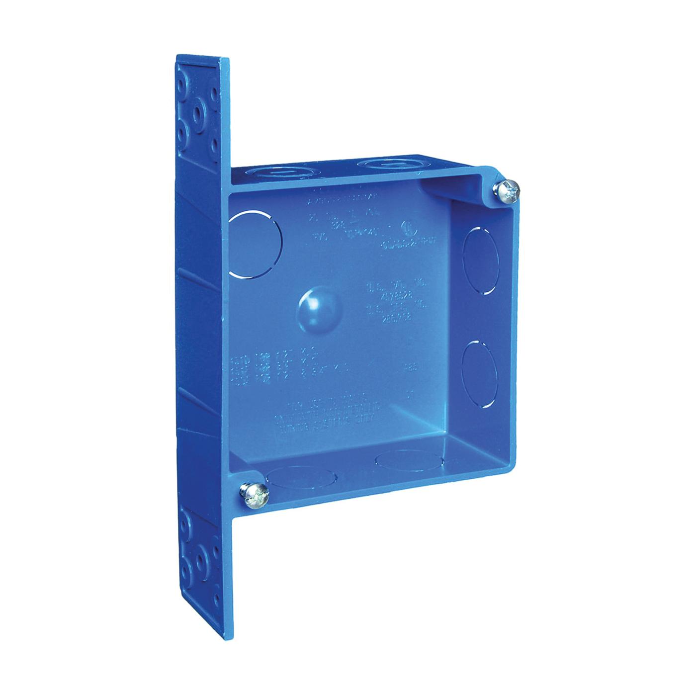 Picture of Carlon A521DE Outlet Box, 2-Gang, 7-Knockout, PVC, Blue, Bracket Mounting