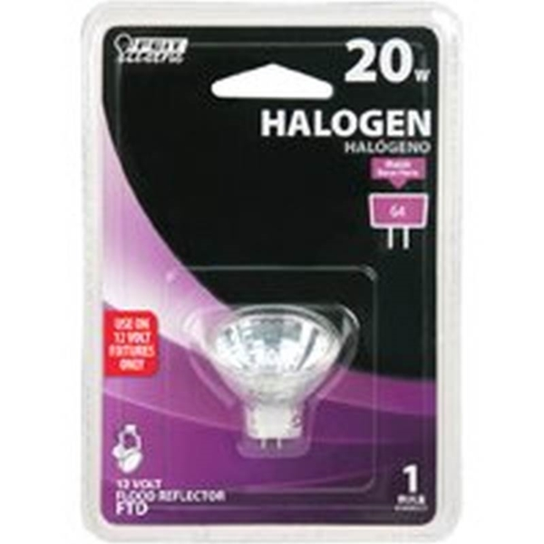 Picture of Feit Electric BPFTD Halogen Lamp, 20 W, G4 Lamp Base, MR11 Lamp, 3000 K Color Temp, 3000 hr Average Life