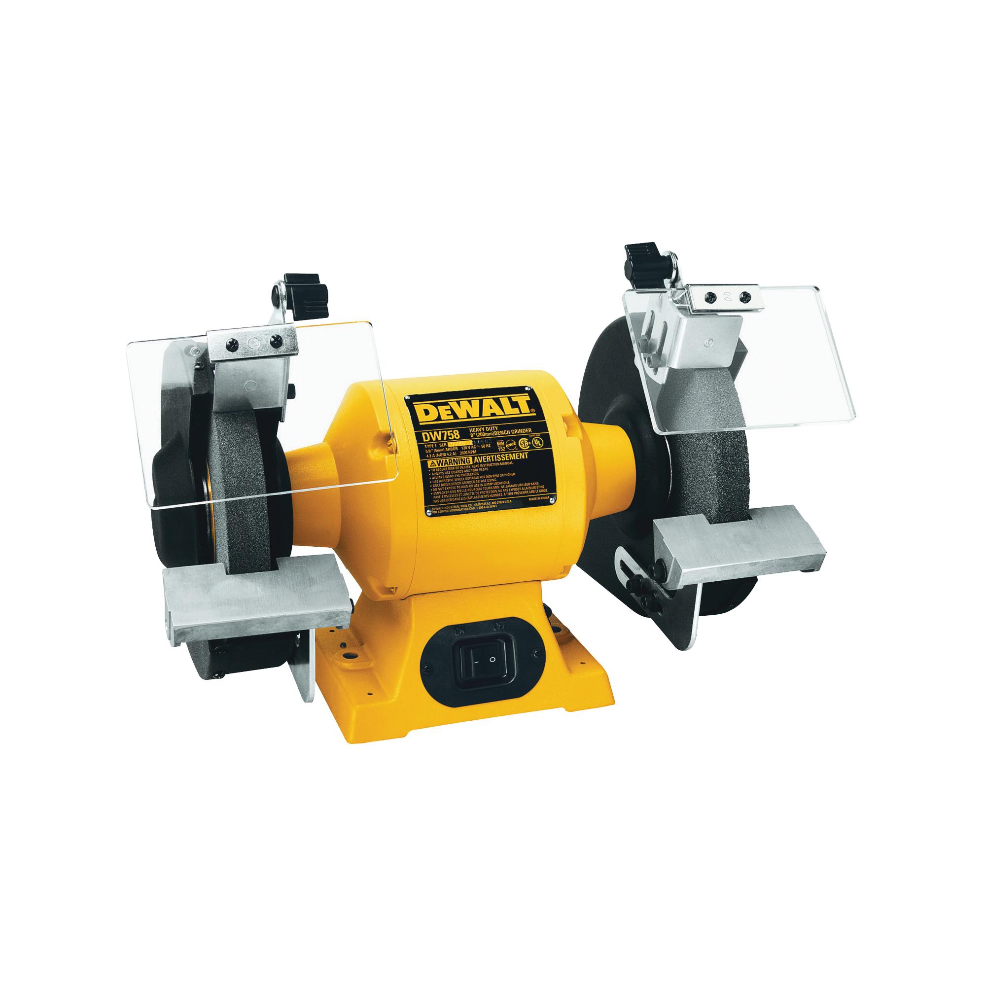 Picture of DeWALT DW758 Bench Grinder, 120 V, 4.2 A, 5/8 in Arbor/Spindle, 8 in Dia Wheel, 3600 rpm Speed