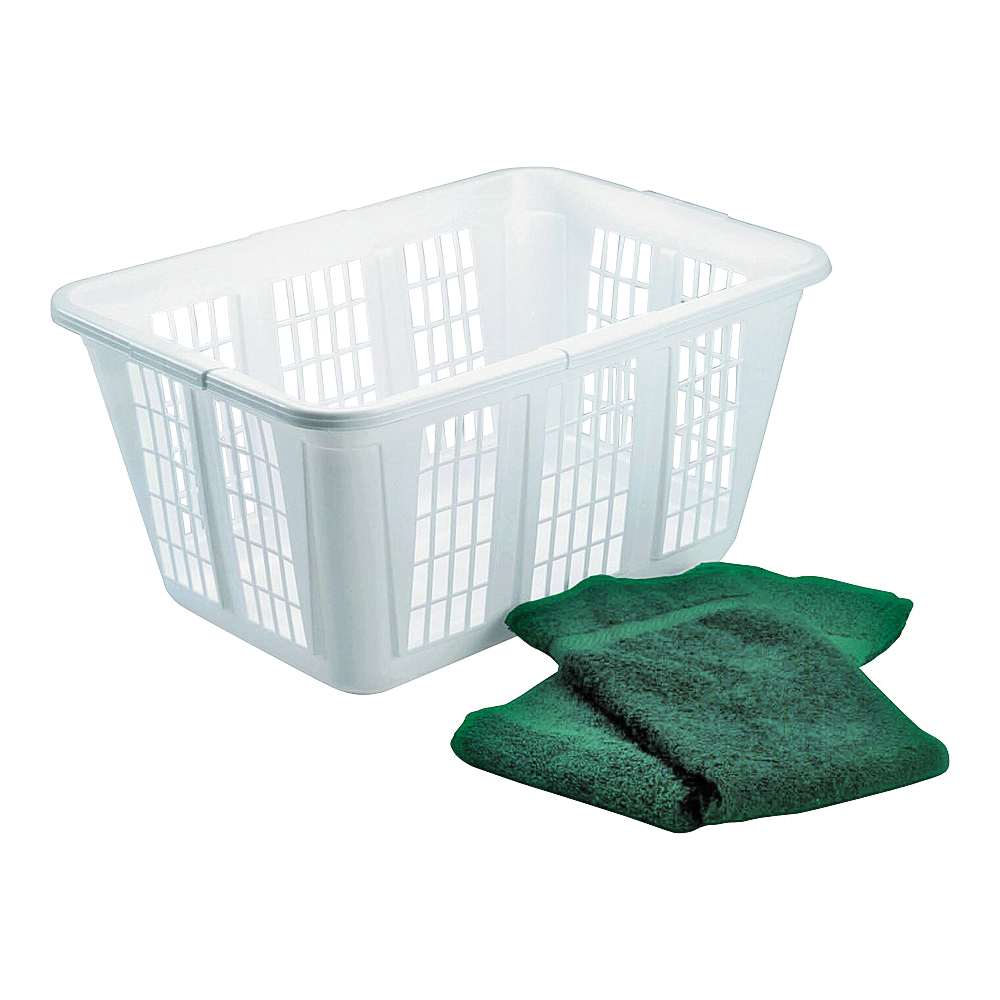 Picture of Rubbermaid FG296585WHT Laundry Basket, 1.6 bu Capacity, Plastic, White, 1-Compartment