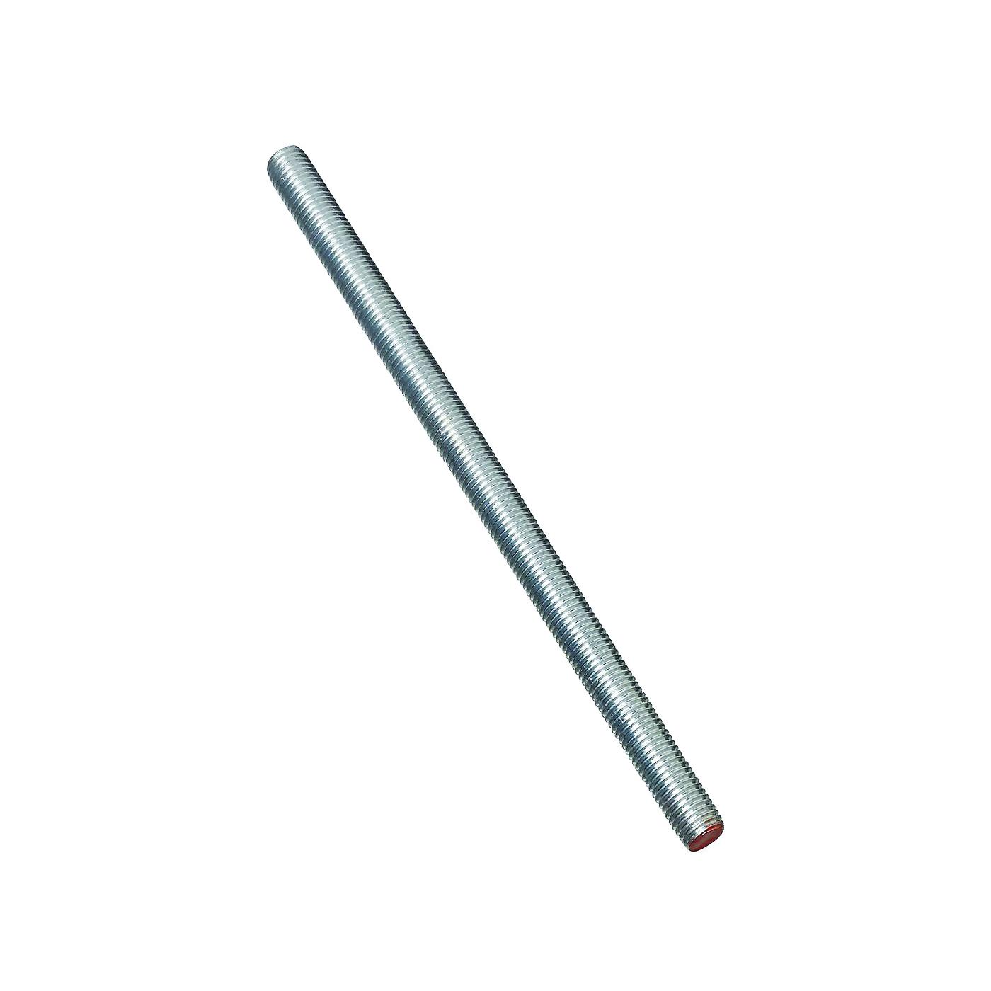 Picture of Stanley Hardware 179366 Threaded Rod, 5/8-11 Thread, 12 in L, A Grade, Steel, Zinc, UNC Thread