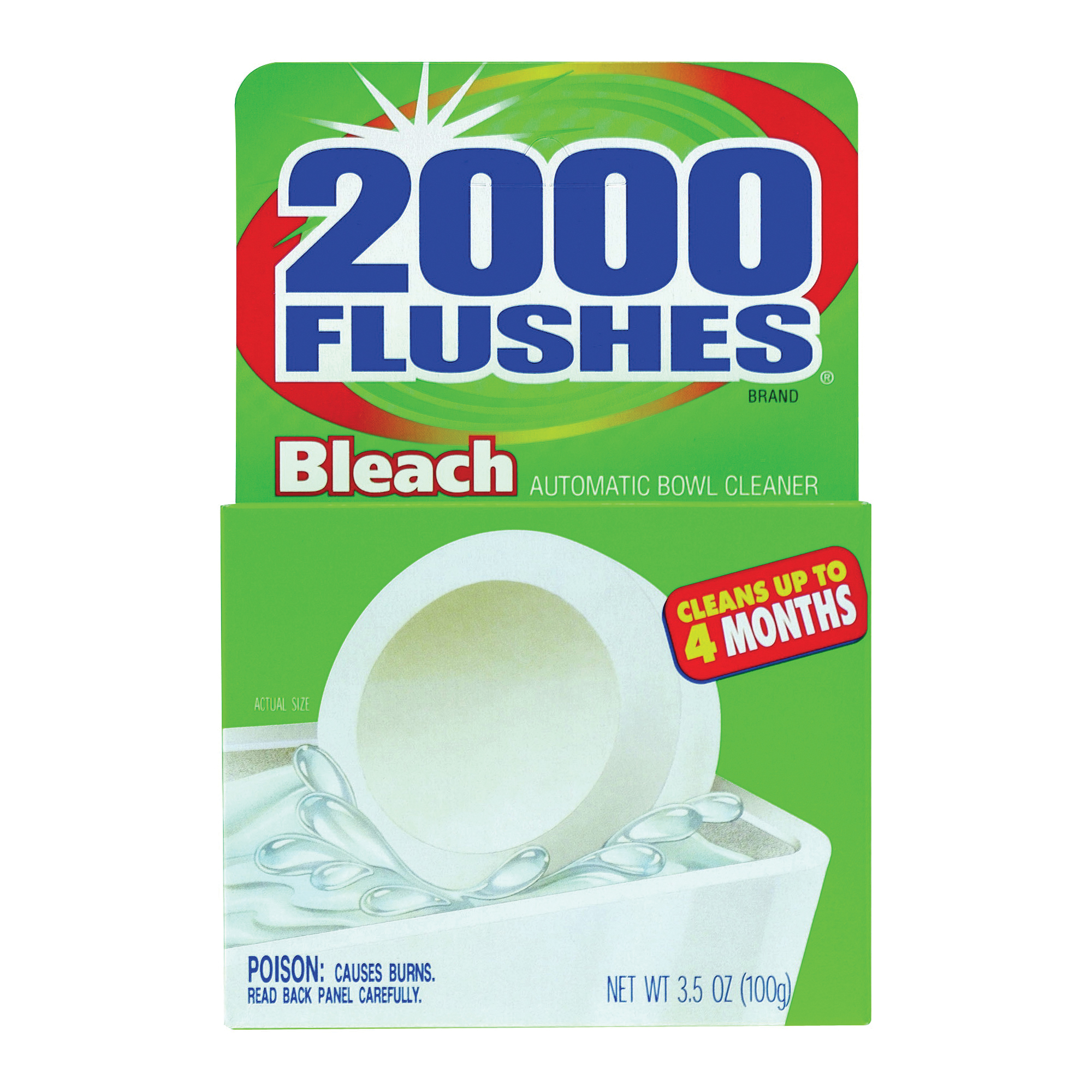 Picture of 2000 Flushes 290071 Toilet Bleach Tablet, 1.75 oz Package, Tablet, Very Slight Pungent, Off-White