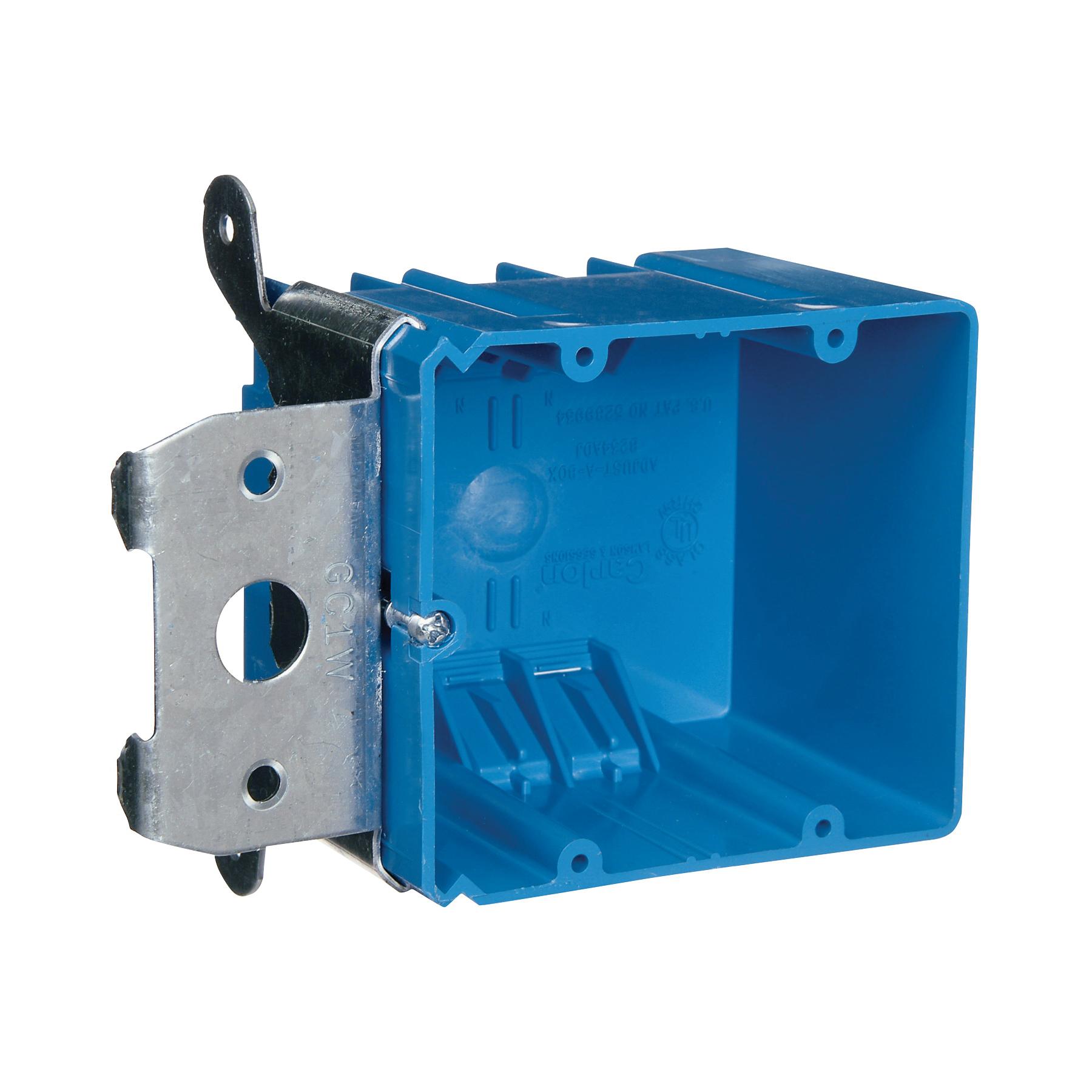 Picture of Carlon B234ADJ Outlet Box, 2-Gang, PVC, Blue, Bracket Mounting