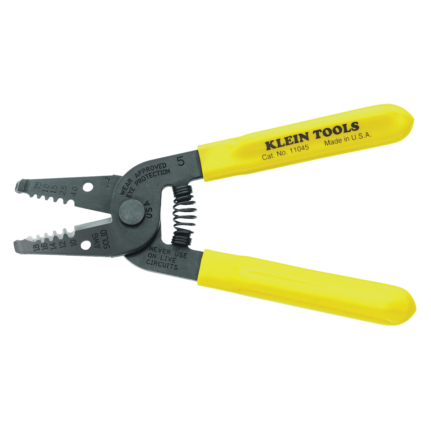 Picture of Klein-Kurve 11045 Wire Stripper, 10 to 18 AWG Wire, 10 to 18 AWG Solid Stripping, 6-1/4 in OAL, Textured Handle