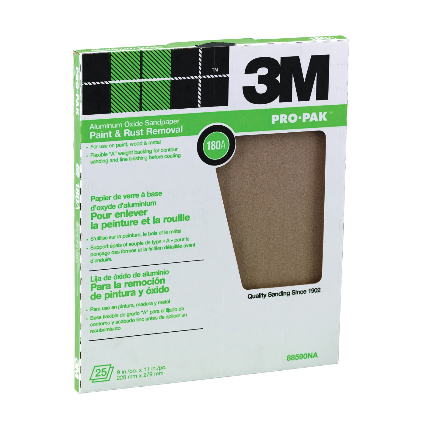Picture of 3M 88590 Sanding Sheet, 11 in L, 9 in W, Fine, 180 Grit, Aluminum Oxide Abrasive, Cloth Backing