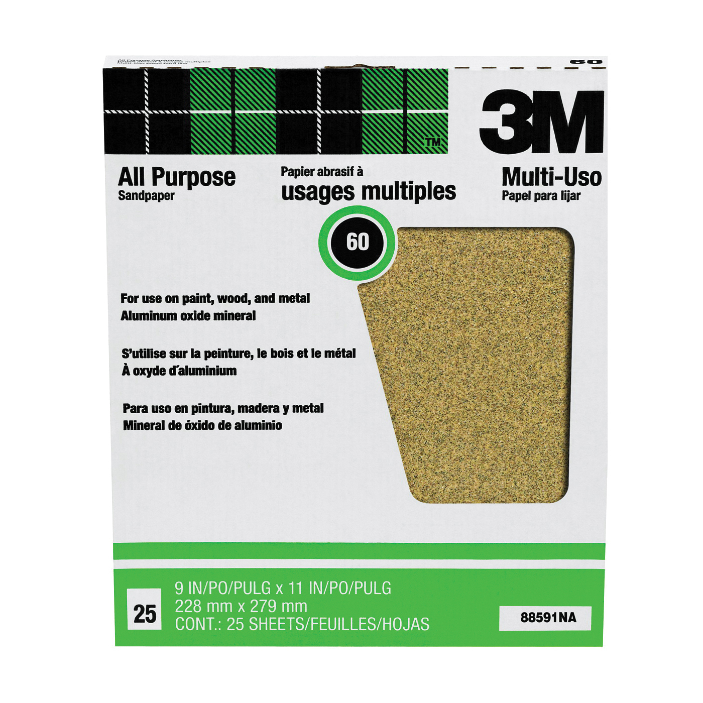 Picture of 3M 88591 Sanding Sheet, 11 in L, 9 in W, Medium, 60 Grit, Aluminum Oxide Abrasive, Cloth Backing