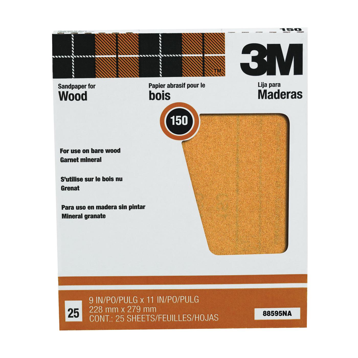 Picture of 3M 88595 Sanding Sheet, 11 in L, 9 in W, Fine, 150 Grit, Garnet Abrasive, Paper Backing