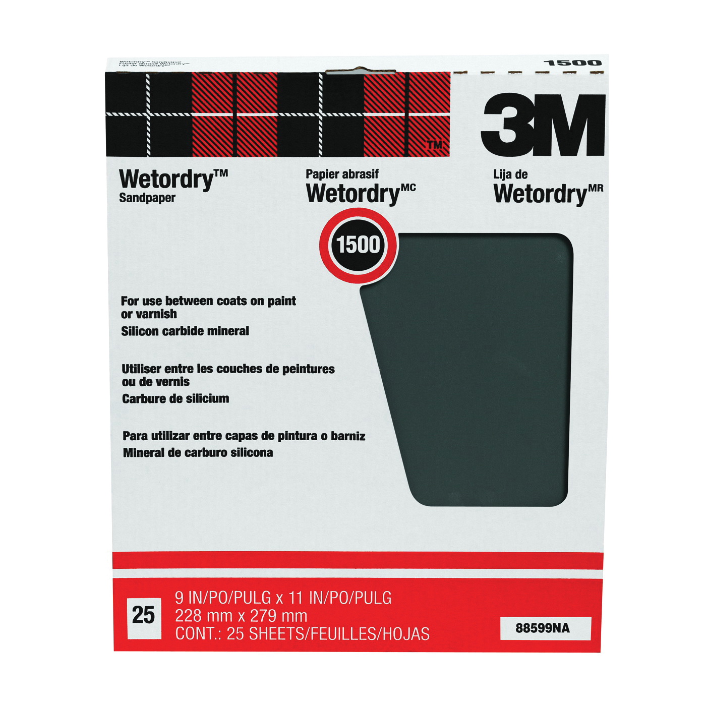Picture of 3M 88599 Sandpaper, 11 in L, 9 in W, 1500 Grit, Ultra Fine, Silicone Carbide Abrasive