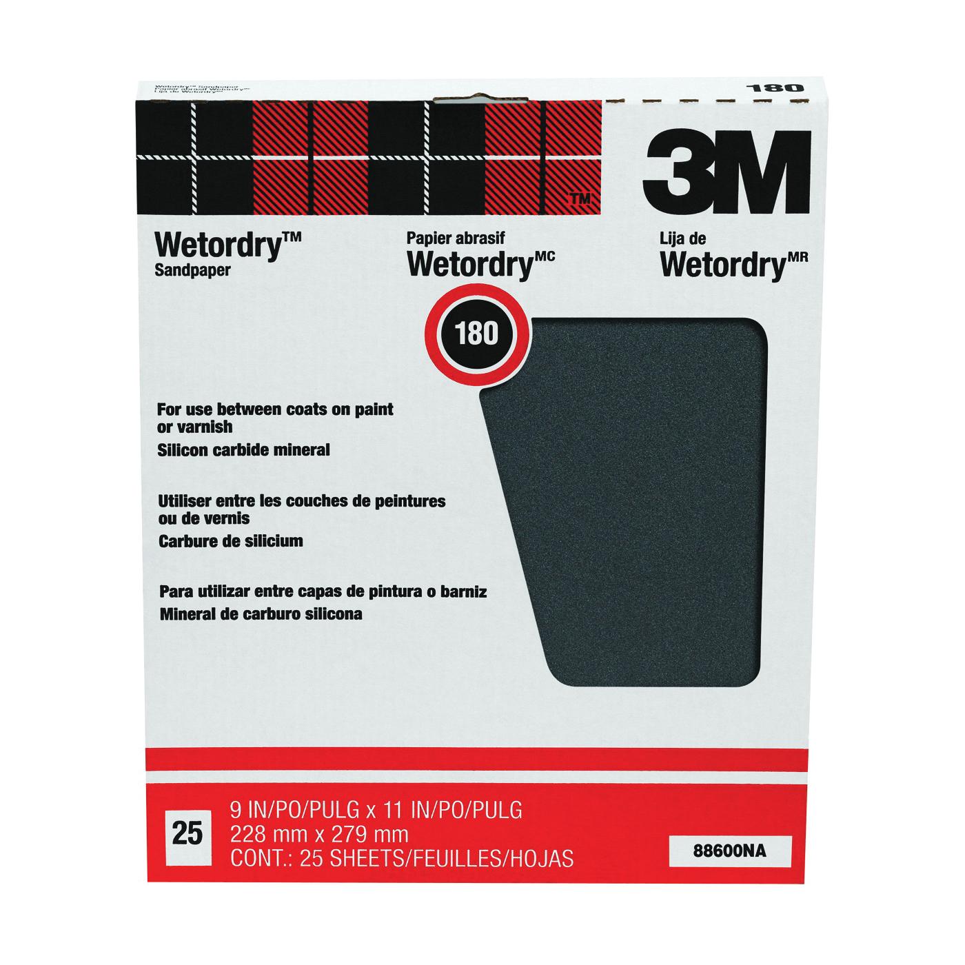 Picture of 3M 88600 Sandpaper, 11 in L, 9 in W, 180 Grit, Fine, Silicone Carbide Abrasive
