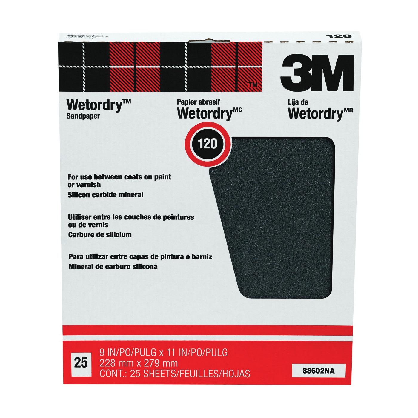 Picture of 3M 88602 Sandpaper, 11 in L, 9 in W, 120 Grit, Fine, Silicone Carbide Abrasive