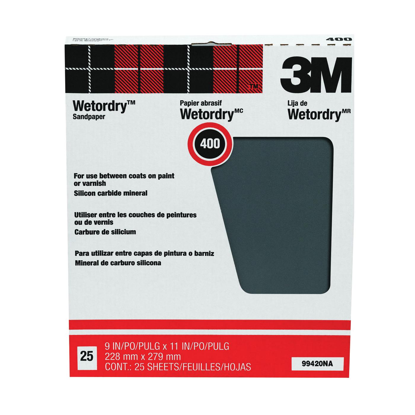 Picture of 3M 99420 Sandpaper, 11 in L, 9 in W, 400A Grit, Super Fine, Silicone Carbide Abrasive